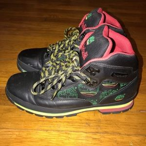 Rasta colored timberland hikers
